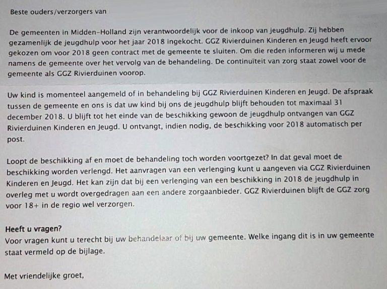 Geen contract jeugdzorg voor Rivierduinen