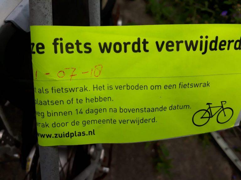 Handhaving ruimt fietswrakken op in Zuidplas