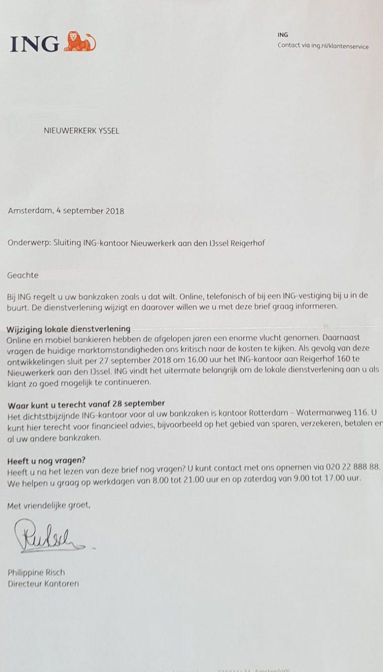 ING kantoor Nieuwerkerk aan den IJssel sluit eind september