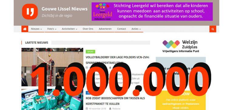 1.000.000 artikelen gelezen op Gouwe IJssel Nieuws vanaf start