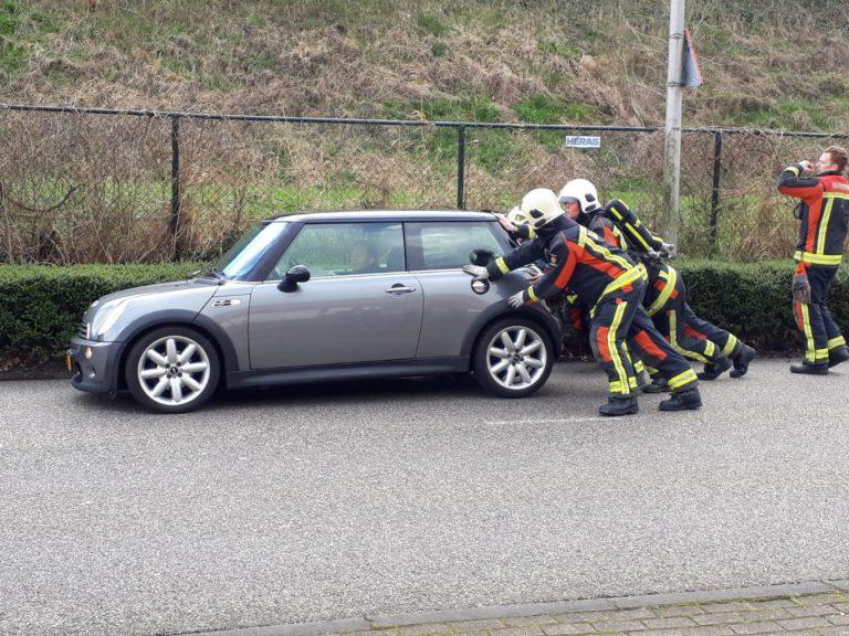 Personenauto wijkt uit voor eend op de Zuidplaslaan in Nieuwerkerk