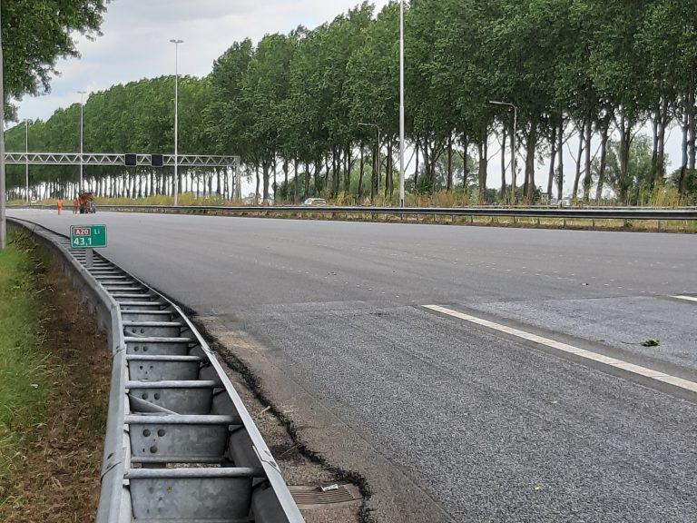 A20 dit weekend afgesloten i.v m. werkzaamheden richting Rotterdam