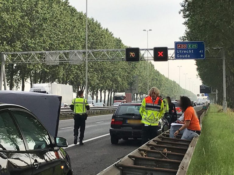 Aanrijding op A20 bij Nieuwerkerk oorzaak vertraging