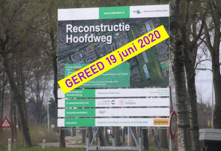 Einde werkzaamheden Hoofdweg in zicht – Zuidplas past plan niet aan na VVD-vragen