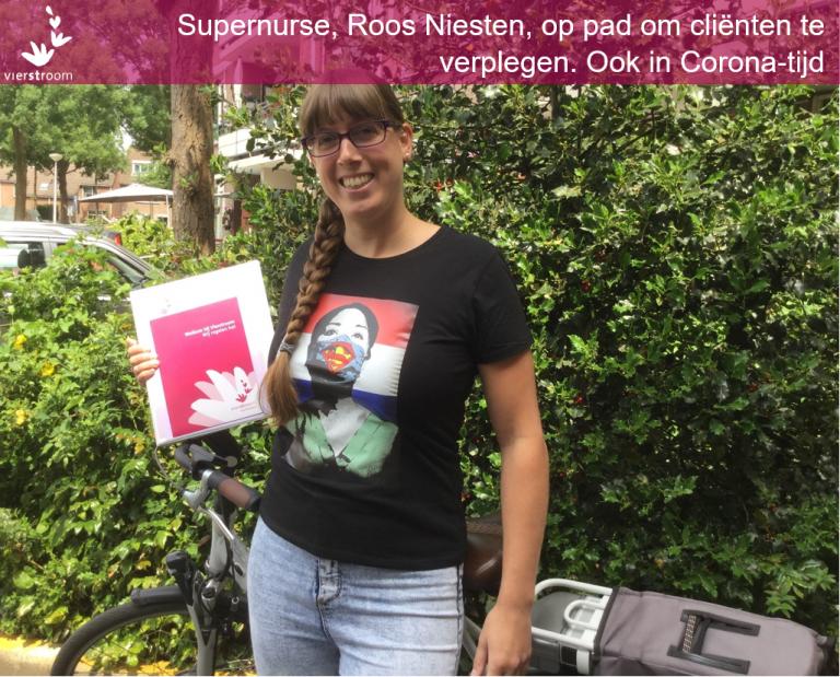 Wijkverpleegkundige met #supernurse shirt op pad in coronatijd