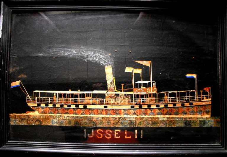 Eerdere ijsselboot uit postzegels (streekmuseum Krimpenerwaard)